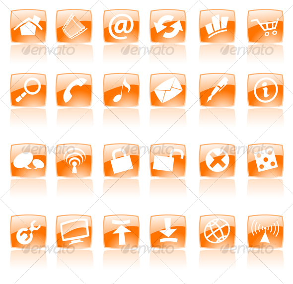 GraphicRiver Orange glossy web icons 53046