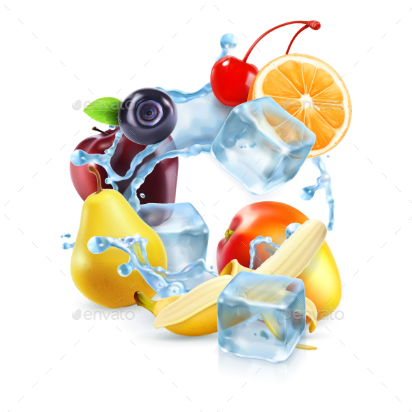 Multi Fruits with Ice Cubes