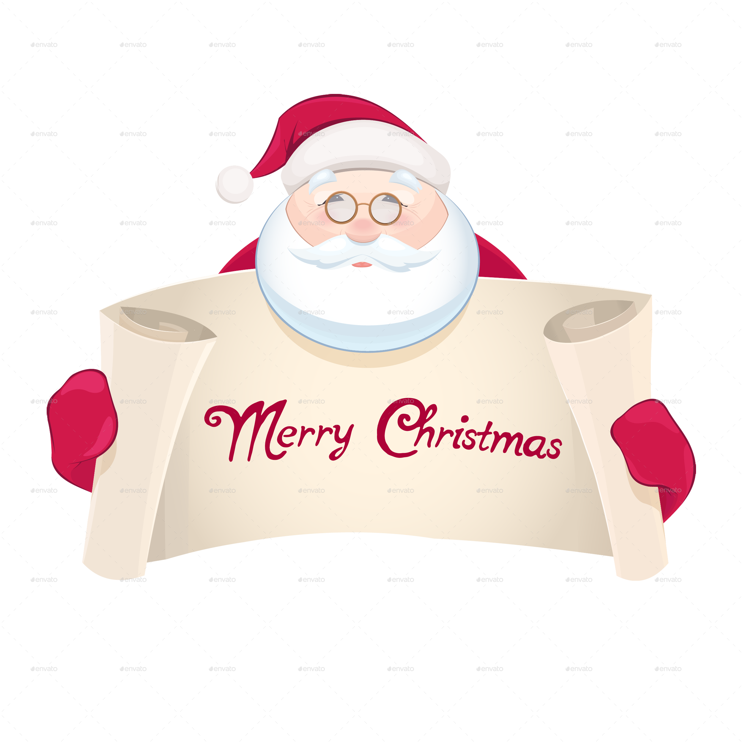 Santa claus with greetings banner by sabina s graphicriver