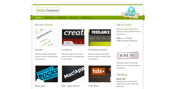 ThemeForest Perfact Freelacer Clean Elegant Html Template 53098