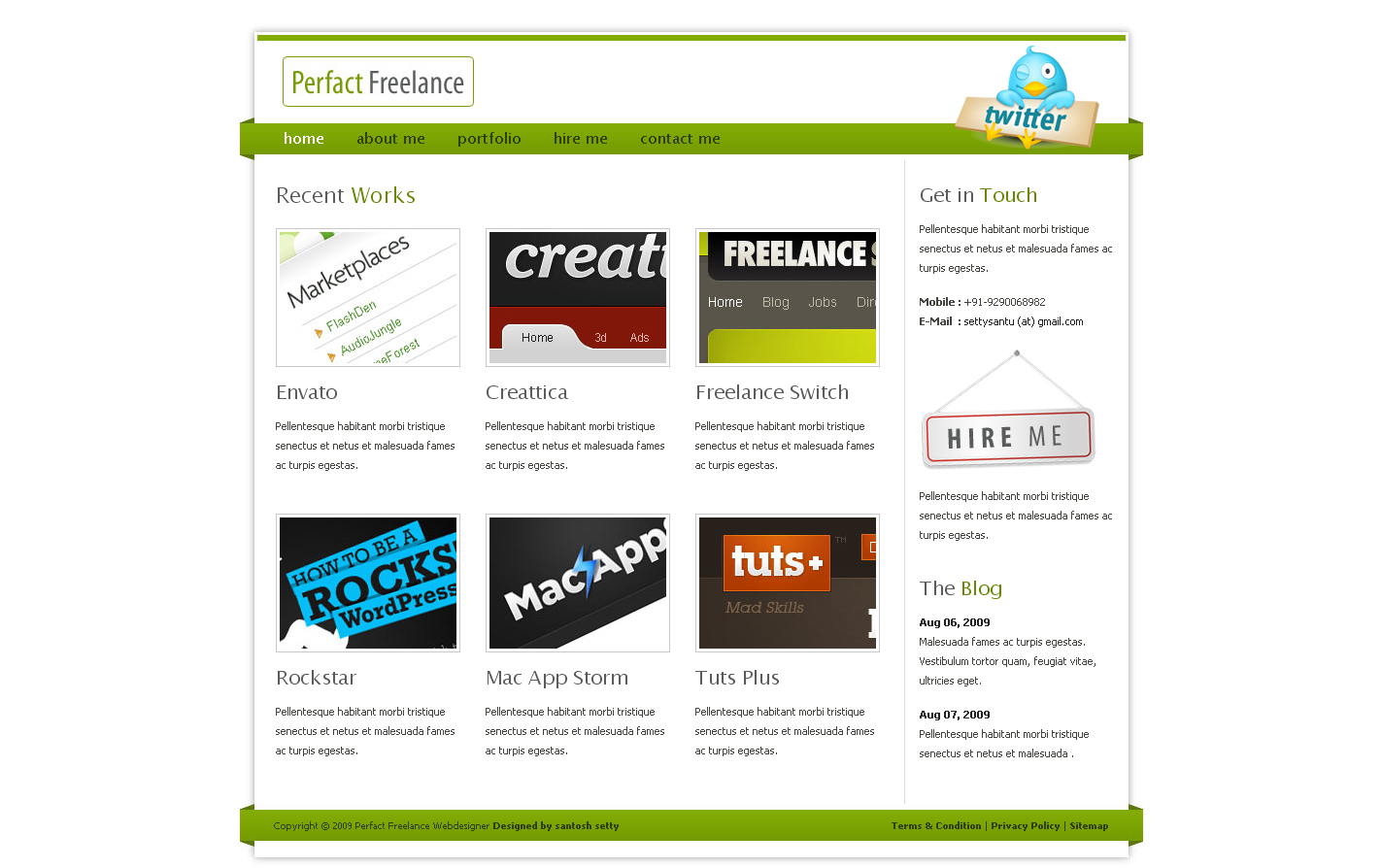 Perfact Freelacer Clean Elegant Html Template