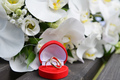 orchids and wedding rings