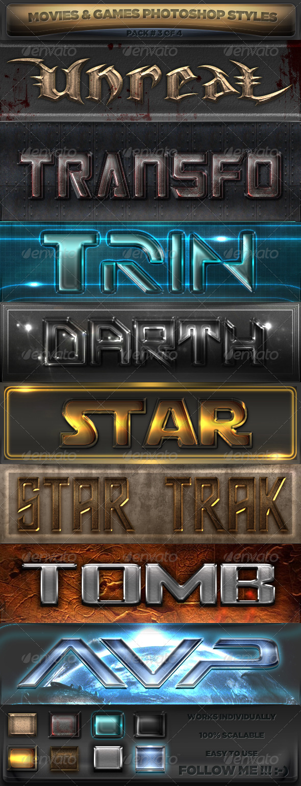 Movies & Games Styles 3 of 4 - Text Effects Styles
