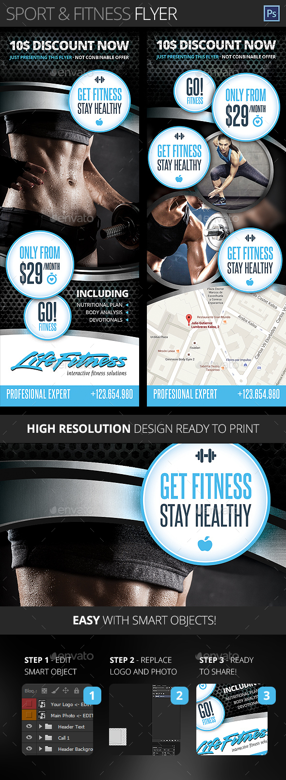 Gym, Fitness, Health and Sport Center Flyer