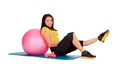 girl engaged on the ball in the gym