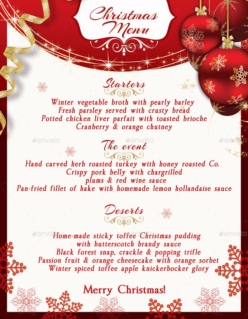 Christmas Menu Template By Oloreon Graphicriver