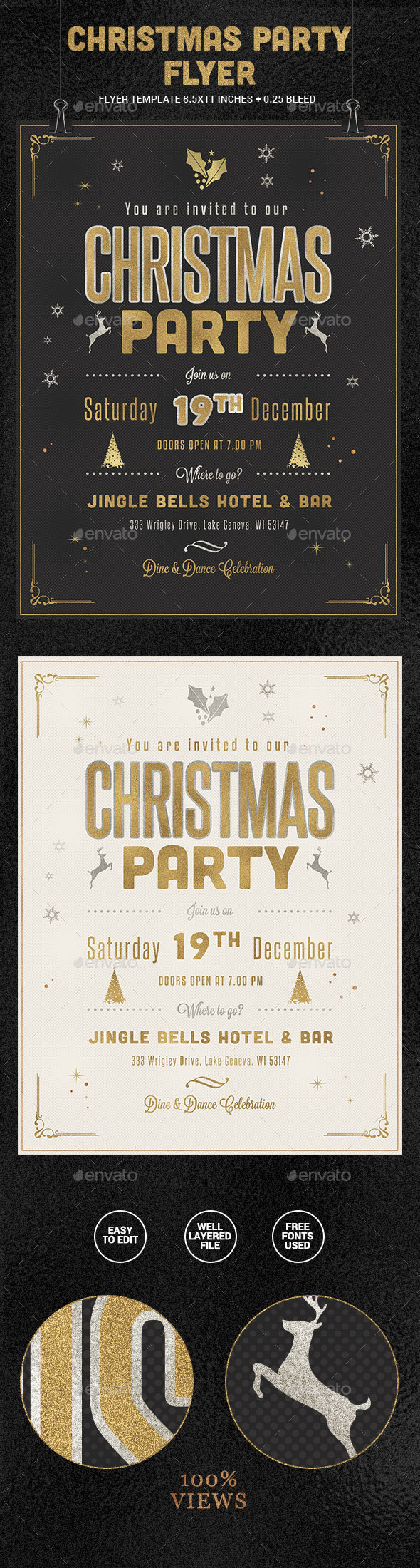 Golden Christmas Party Flyer