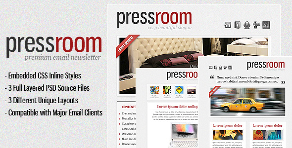 Press Room Premium HTML Email Template (3 Themes)