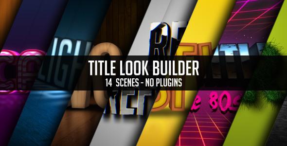 AE模板-14组三维金属黄金木纹质感草坪立体字动画片头logo模版Title Look Builder免费下载