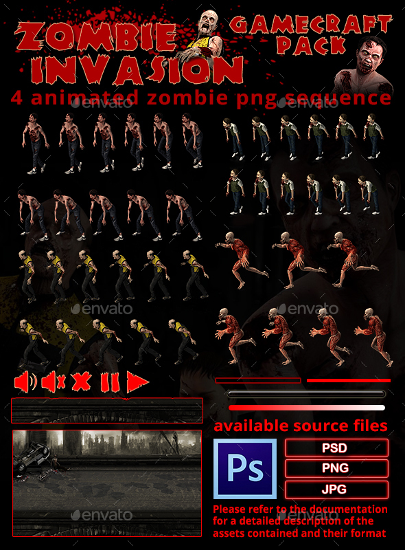 Zombie Invasion Game Assets (Game Kits)
