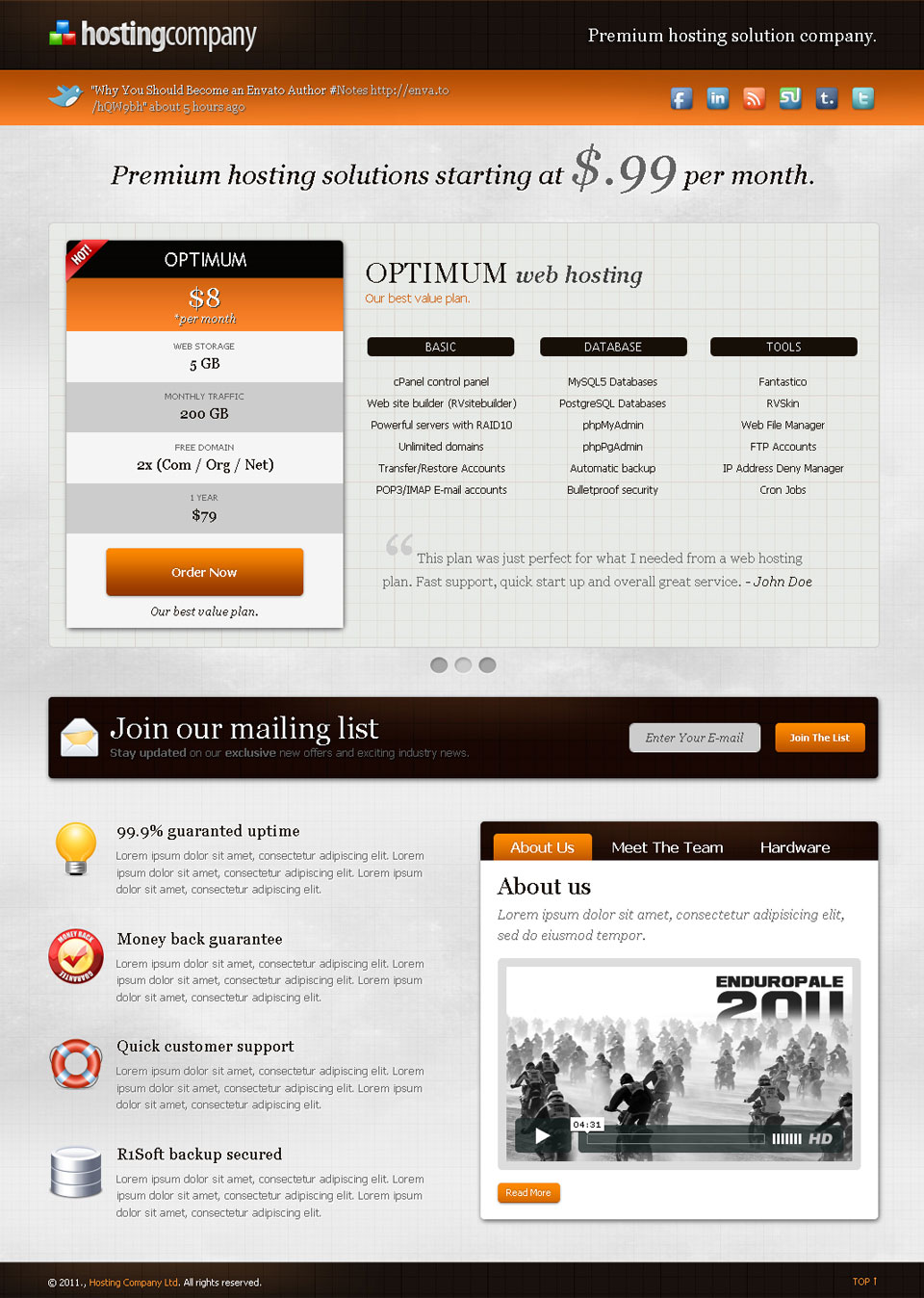 Hosting Company Landing Page - Orange - Slider