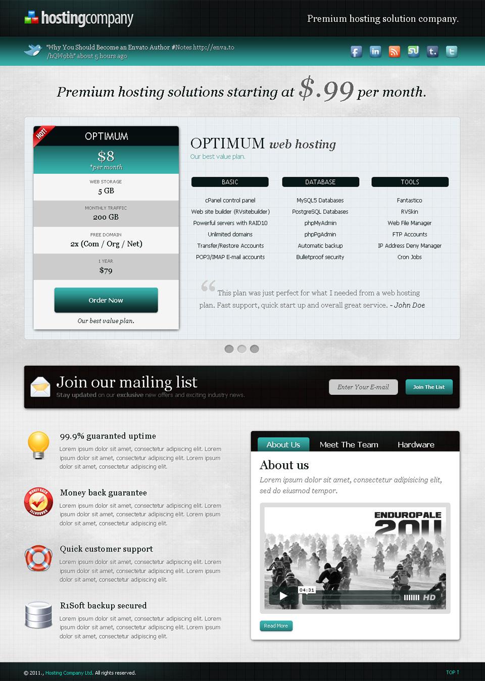 Hosting Company Landing Page - Teal - slider