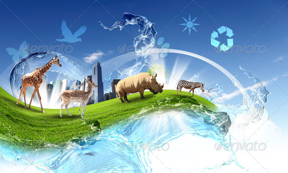 Green world with different animals collage - Stock Photo - Images