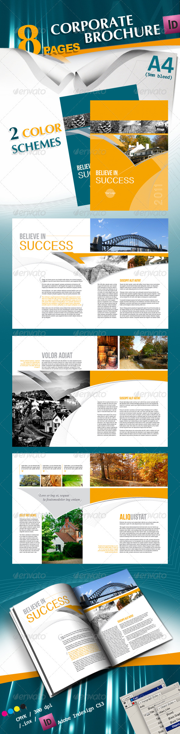 GraphicRiver Corporate A4 Brochure in 2 Schemes of Color 160374
