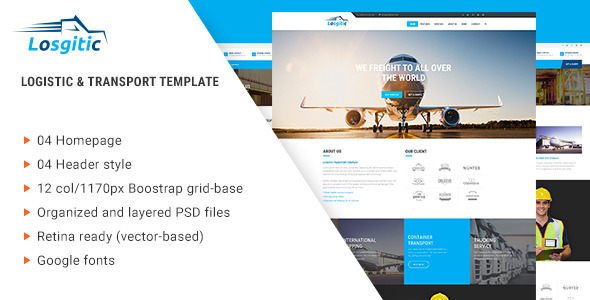Logistic - Warehouse & Transport PSD template