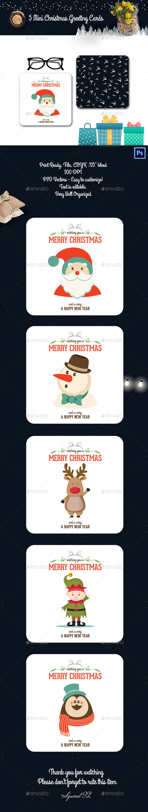 5 Mini Christmas Greeting Cards