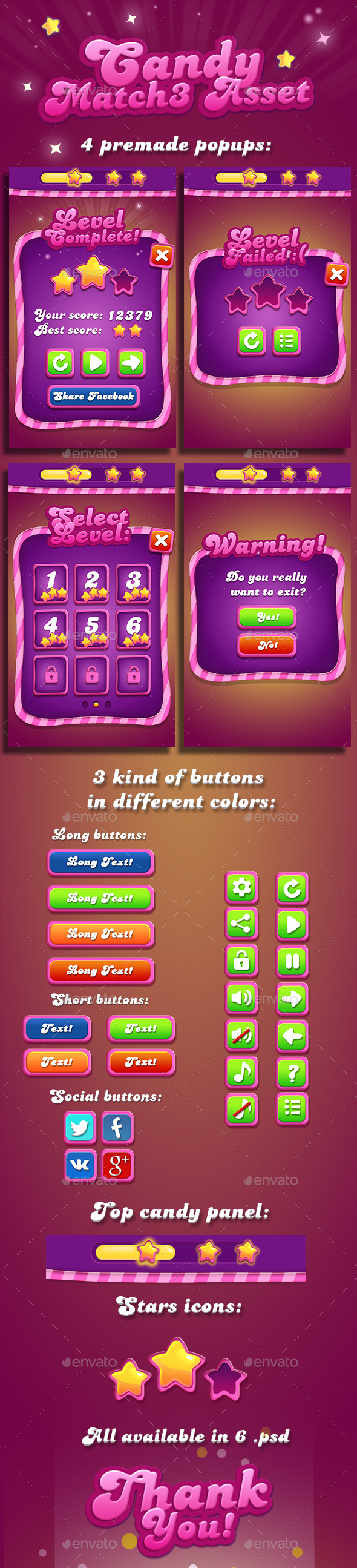 Candy Match-3 GUI (User Interfaces)