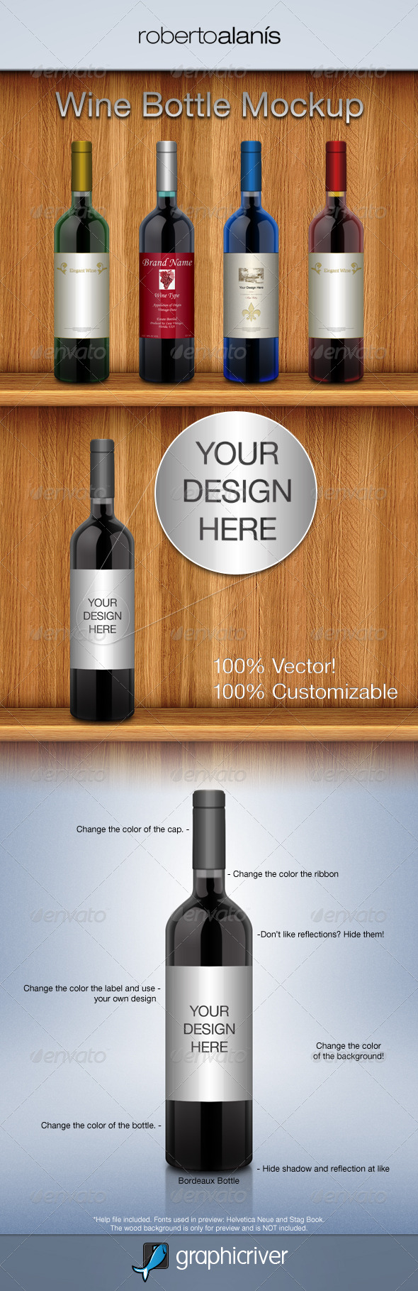 GraphicRiver Wine Bottle Mockup 160488