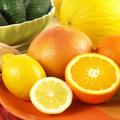 Juicy citrus fruit on plate