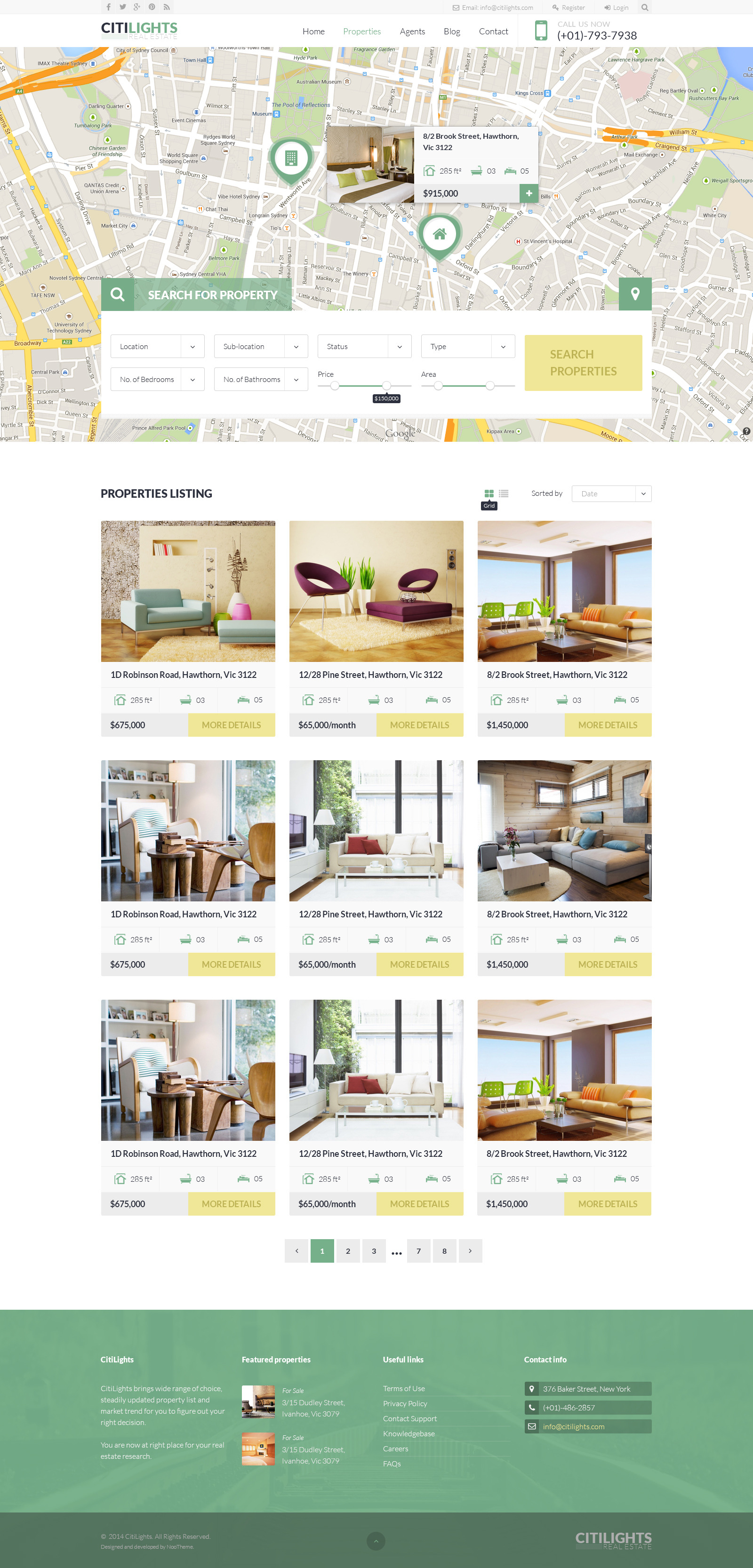 citilights real estate joomla template by juxtheme themeforest screenshot 09property listing map grid jpg