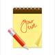 Note Paper and Pencil, Pen Set. Vector