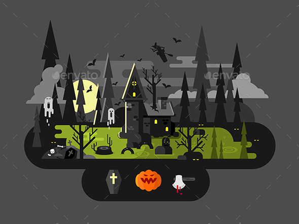Halloween House At Night