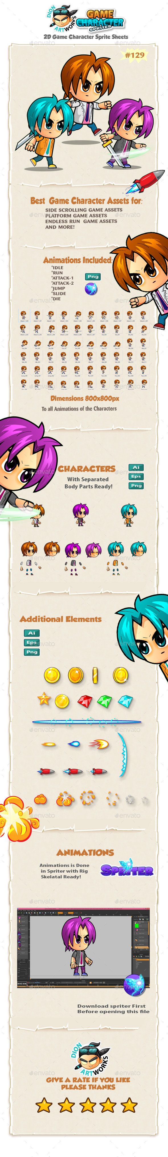 2D Game Character Sprites 129 (Sprites)