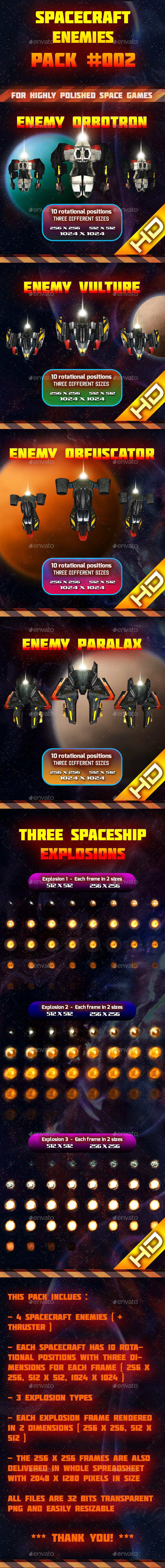 Spaceship Enemy Sprites Pack 002 (Sprites)