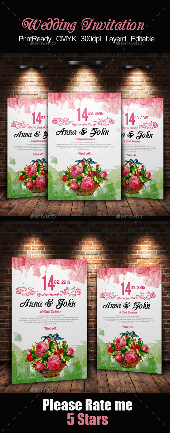 Water Colore & Floral Invitation Card
