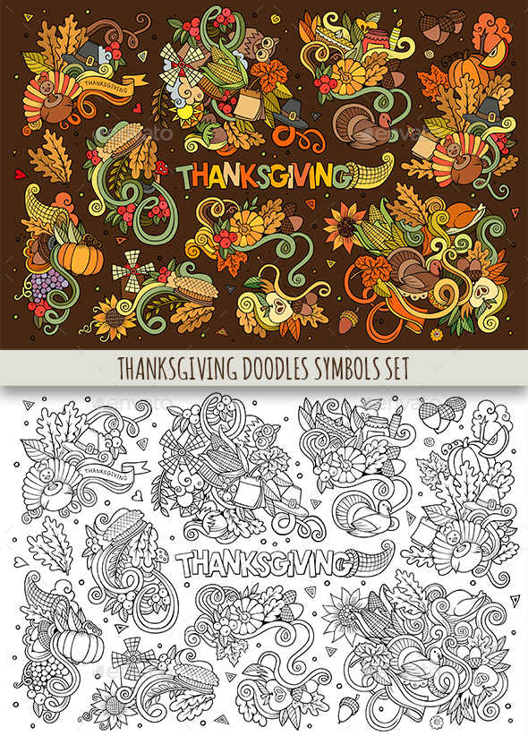 Thanksgiving Doodles Symbols Set