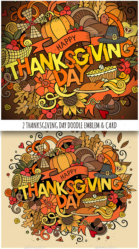 Happy Thanksgiving Doodles Illustration u0026 Card