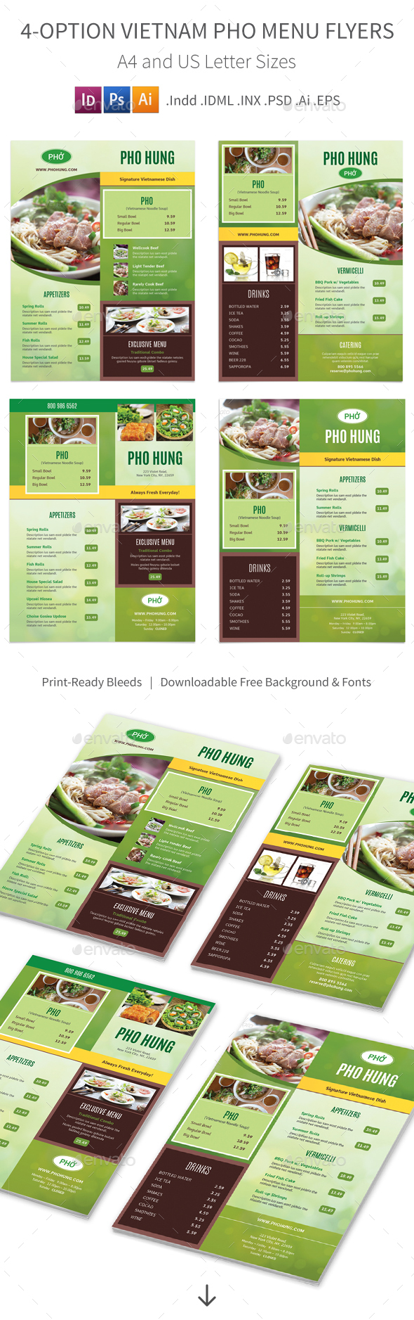 Vietnamese Pho Restaurant Menu Flyers – 4 Options
