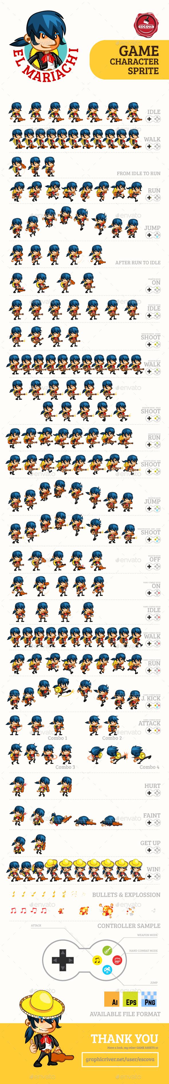 El Mariachi Game Character Sprites (Sprites)