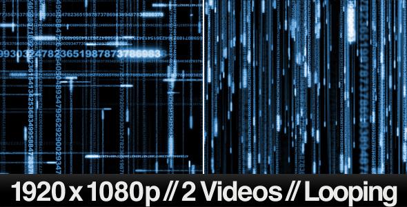 VideoHive 2 Digital Data Stream Matrix Effect Videos LOOP 160688