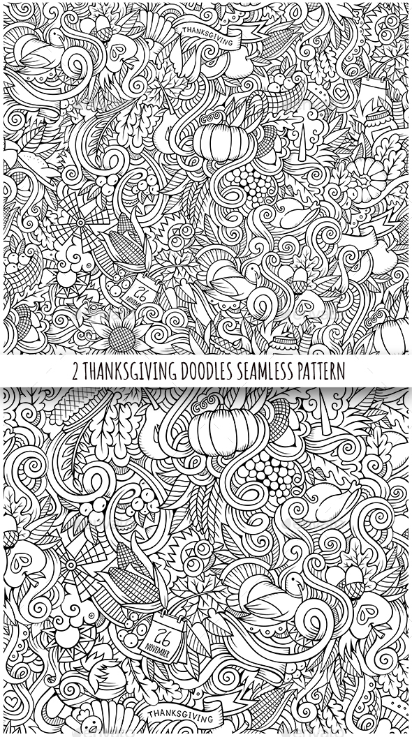 2 Thanksgiving Doodles Seamless Patterns
