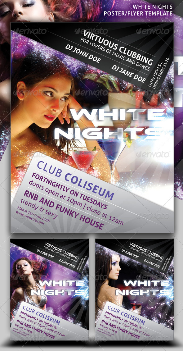 White Nights Poster/Flyer Template - Clubs & Parties Events