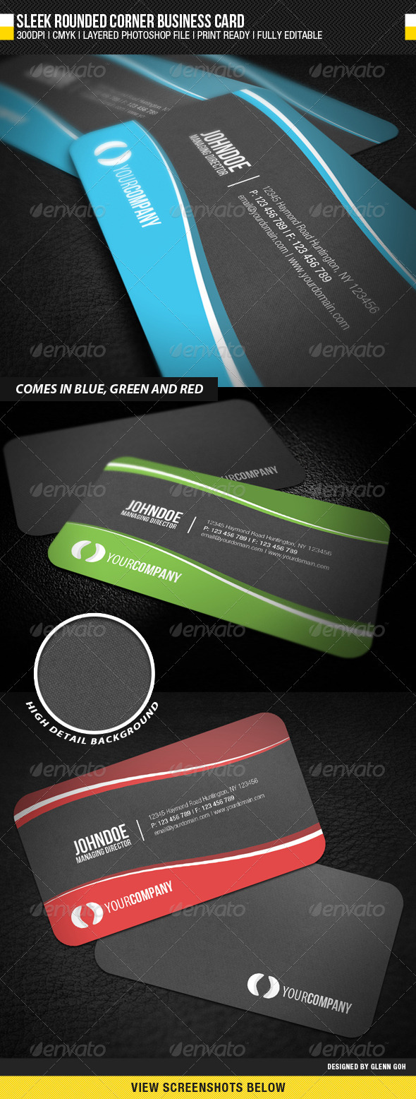 Sleek Rounded Corner Business Card - Corporate Business Cards