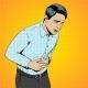 Man Suffering Stomach Pain Pop Art Retro Vector