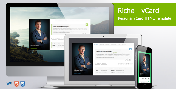 Riche VCard Personal VCard HTML Template Virtual Business Card - Virtual business card template