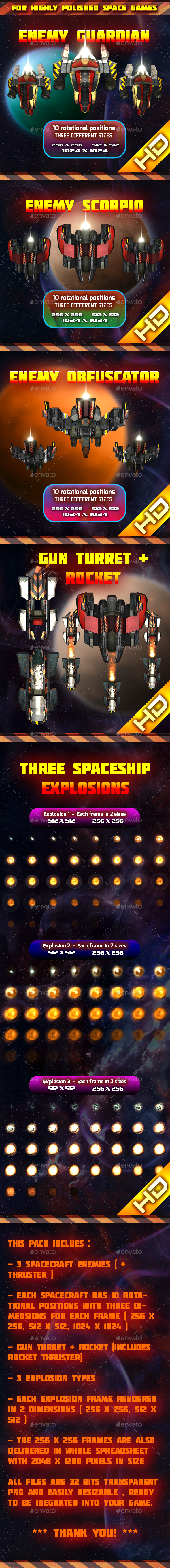 Spaceship Enemy Sprites Pack 003 (Sprites)