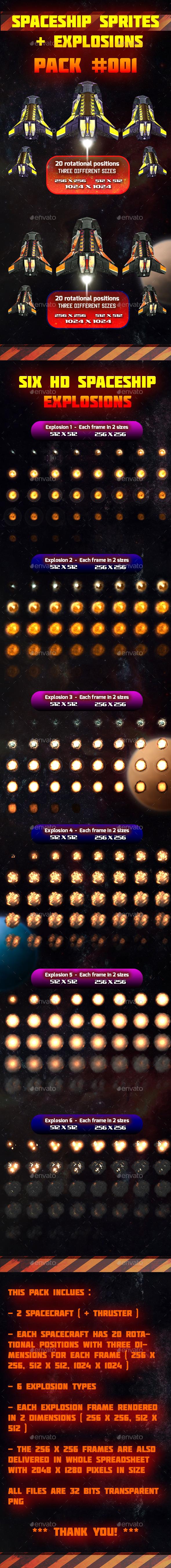 Spaceship Sprites and Explosions Pack 001 (Sprites)