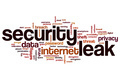 Security leak word cloud concept