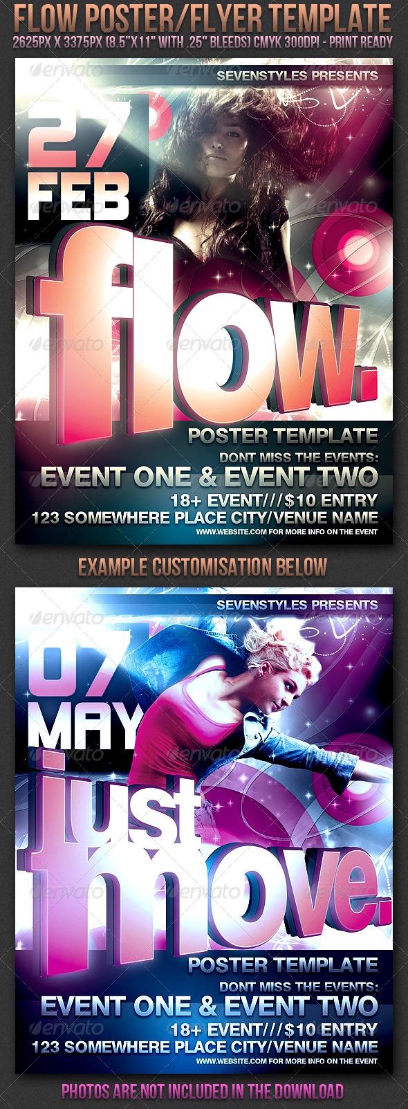 Flow Poster/Flyer Template - Clubs & Parties Events