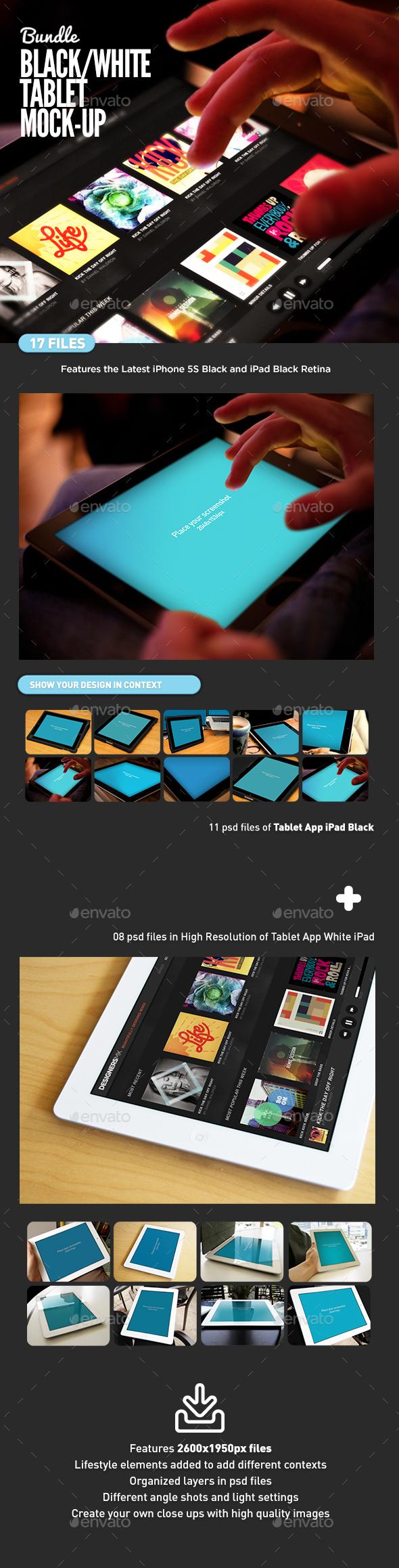 Black and White Pad Tablet MockUp Bundle