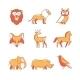 Popular Wild Life Animals Thin Line Icons Set