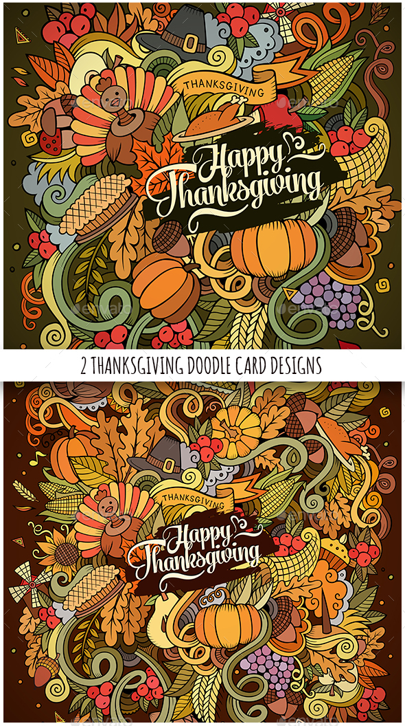 Happy Thanksgiving Doodles Designs