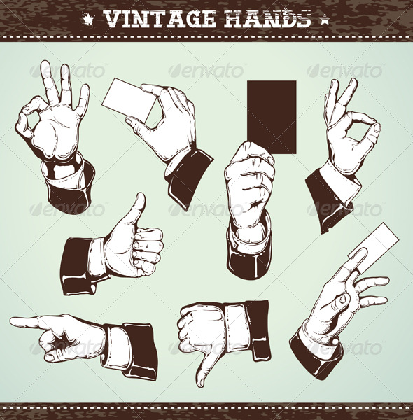 GraphicRiver Set of vintage hands 161031