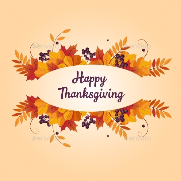 Autumn Thanksgiving Banner With Leaves And Black