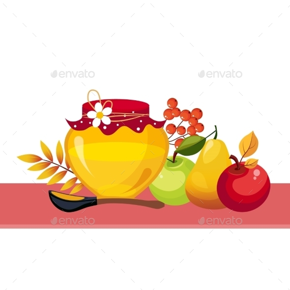 Autumn Harvest Illustration With Jar And Fruits