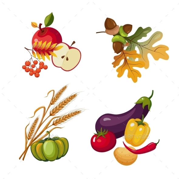 Vegetables And Fruits, Stalks, Autumn Leaves